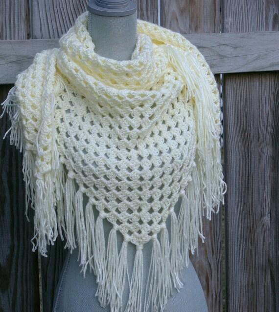 Crochet Triangle Scarf, Crochet Shawl in Cream Hand Crochet