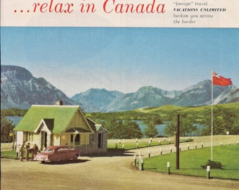 CANADIAN Government Travel Bureau Advertisement, Vintage June 1953 Original Color Illustration from National Geographic, Canada Travel
