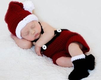 NEW SIZES Crochet Pattern Santa Set Baby Christmas Photography Prop BOTH Boy and Girl