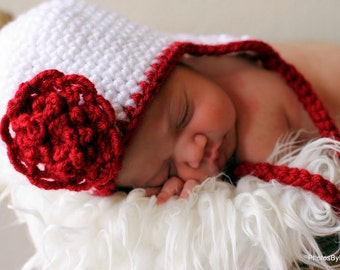 Baby Earflap Hat Easy CROCHET PATTERN 5 SIZES 0-10 years with Pretty Flower