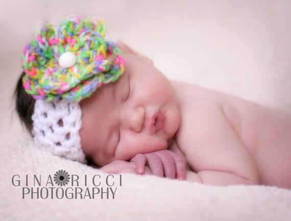 Baby Hat CROCHET PATTERN Blossom Flower Headband Photography Prop