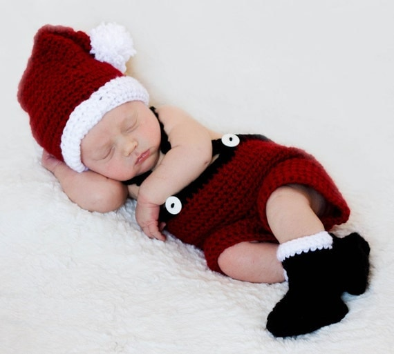 Baby Santa Set CROCHET PATTERN Christmas Photography Prop Boy and Girl