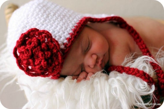 Earflap Hat Crochet PATTERN 5 SIZES Baby Child with Pretty Flower