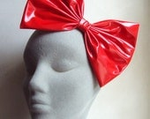 Lipstick red wetlook PVC oversized hair bow clip - 25% Off CLEARANCE SALE