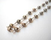 Bronze Pearl Necklace - Sterling Silver Long Beaded Rosary Necklace Opera Lenght Pearl Strand Beadwork Necklace