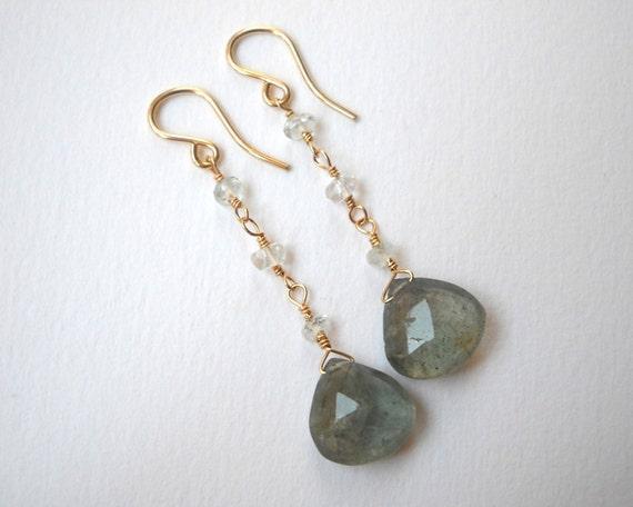 Moss Aquamarine Earrings - Gold Filled Briolette Long Dangle Drop Earrings Beadwork Earrings