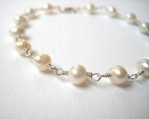 Pearl Bracelet - Strerling Silver Beaded Rosary Bracelet Bridal Accesories Jewelry Bridesmaids Maid of Honor Gift