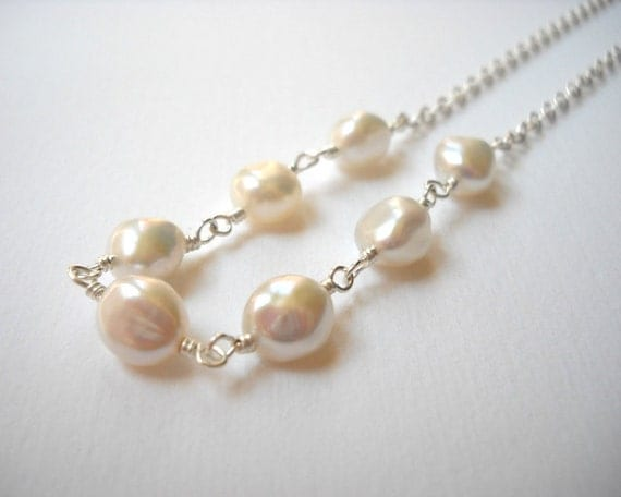 Baroque Pearl Necklace - Sterling Silver Beaded Nugget Pearl Necklace Beadwork Necklace