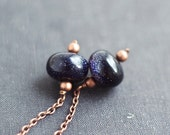 Long dangle copper chains stud earrings black night sky blue cobalt sparcle goldstone copper earrings