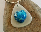 Guitar Pick Necklace Heart Sea Sediment Jasper