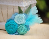 Corsage or Fascinator. Something Turquoise Aquablue Cyan. Bridal Party Rose Rosette, Children Toddler Kid, Shabby Chic Sash Brooch, Icy Aqua