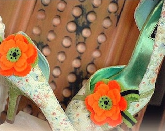 Shoe Clips Tangerine & Lime Flower. Bright Fun Orange. Bridal Bridesmaid Statement Gift, Girly Teen Women Woman Handmade Spring Couture 2015