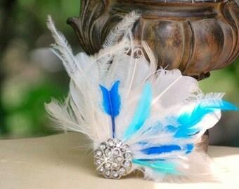 Something Aqua Blue & Ivory Fascinator Comb. Turquoise / White - Rhinestone. Classy Chic Statement Spring Wedding, Bridal Bride Couture Fan