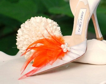 Bride Shoe Clips Orange Tangerine & Ivory Pearls / Rhinestone Crystal. Statement Couture Bridal Bridesmaid Engagement. Mint Blue Red Purple