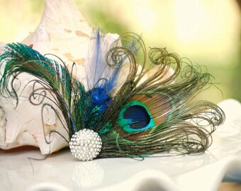Wedding Fascinator Comb. Elegant Peacock Sword Rooster Feathers & Rhinestone. Bride Bridal Party Bridesmaid Gift, Burlesque Teal Navy Gold