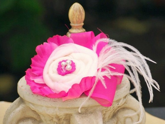 Dainty Head Piece Fascinator Comb / Barrette Clip / Brooch Pin. Infant Preteen Teen Women, Preppy Princess Birthday, Chiffon Fabric Pearl