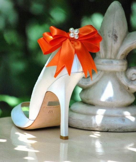 Pearl & Tangerine Orange Bow Shoe Clips. Autumn Fashion Ivory White Navy Blue Black Pink Purple Kelly Green Red Yellow Satin Ribbon Under 50