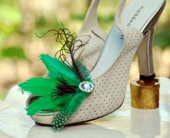 Shoe Clips Kelly Green Black Wedding. Mixed Feathers Shoe Clip. Wedding Bridal Bride Bridesmaid Gift, Saint St Patrick Patty Lucky Big Day