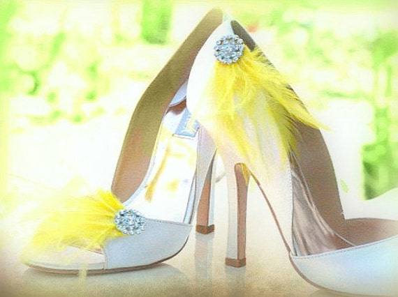 Shoe Clips Yellow / Purple / Mint Feathers. Silver Rhinestone Crystal, Bride Bridal Bridesmaid Couture. More: Ivory / White / Blue Statement