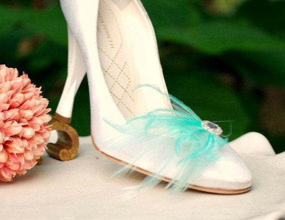 Shoe Clips Mint Aqua Blue Feathers. Silver Gem / Pearls, Bride Bridal Bridesmaid Couture. More Purple Yellow Ivory White Pink Navy Statement