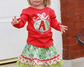 Christmas Ornament Initial Applique Shirt...Ready for Delivery...Available in Size 4 From Corinas Closet