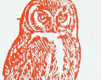 Etsy Owl Wall Art- 4x6 Orange- or Custom Order Color- Original Hand-Pulled Print