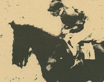 Race Horse Lithograph- English Racing Sport- Original Print- 8 x 11 inch 20 x 28 cm