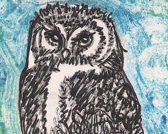 Owl Art Monotype- Original Print- Summer  6 x 8 inch 15 x 20 cm