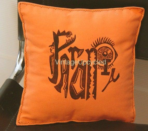 Goth Pillow Cushion- Crazy Linocut Artists Print- 10 x10 inch  25 x 25 cm