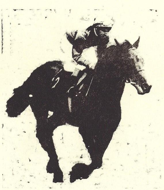 "Racehorse Lithograph- Sport Horse Racing- Original Art- 6""x6"" Cream Paper"