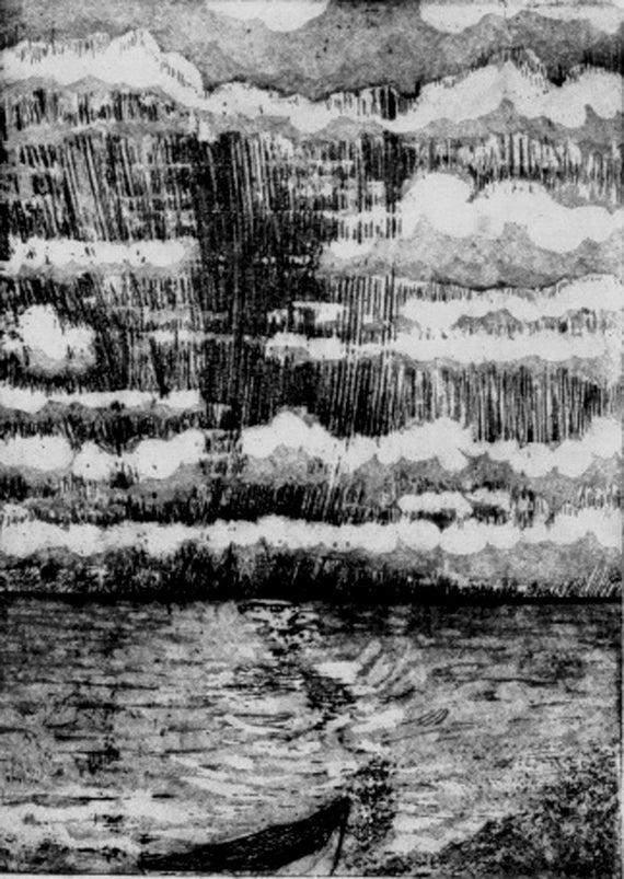 Seascape Aquatint Etching- Classic Renaissance Style- Original Art- 4 x 6 inch image