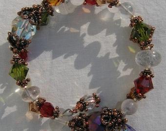 Swarovski Crystal Memory Wire Bracelet Coppertones Boho Gypsy