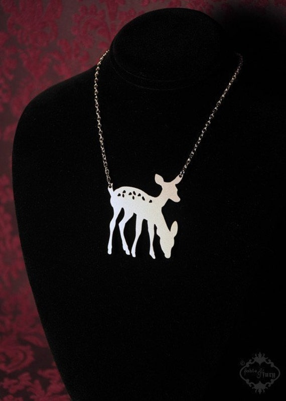 Conjoined Deer necklace in silver stainless steel - 2 headed deer - bambi necklace, woodland creature, friendship necklace, deer jewelry