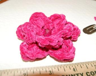 Handmade 3D Suede Flower / Crochet Hot Pink Rosette / Fuschia Rosebud Brooch OR Hair Band / Crochet Hair Clip / Crochet Flower Applique