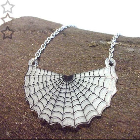 Spooky Spiderweb Pendant Necklace, Halloween, Spider