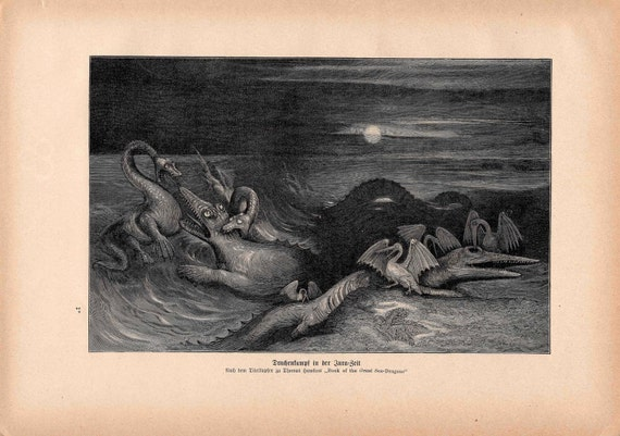 1900 SEA MONSTERS print original antique mythical animal lithograph