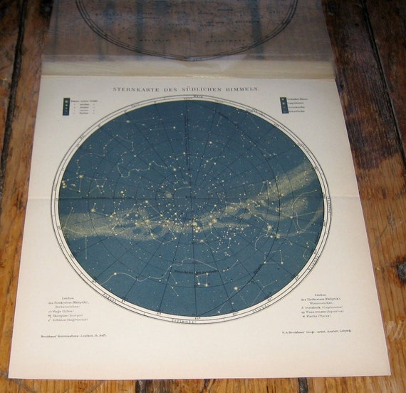 1903 star map of the southern skies original antique celestial print