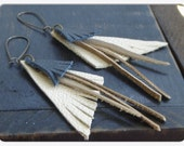 The Wayfarer earrings. Leather fringe earrings Boho earrings Handmade Geometric genuine hand cut leather Tribal earrings ooak