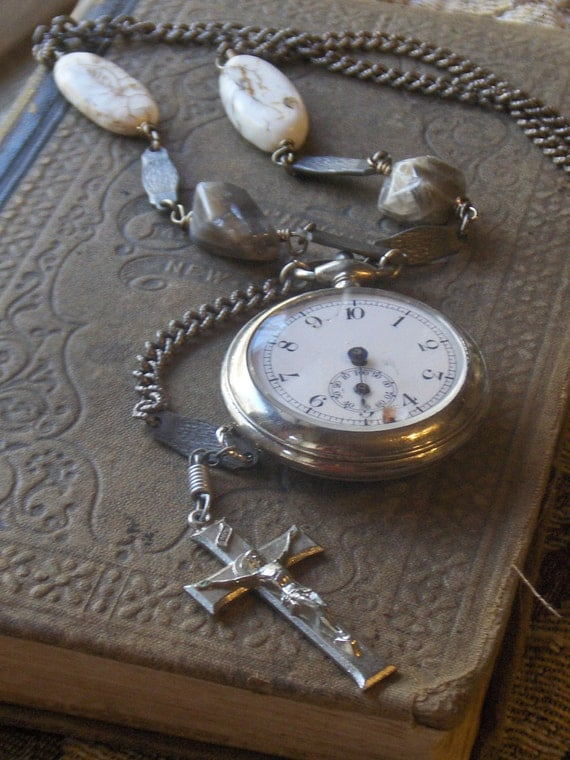 The Executioner. Vintage Pocket Watch, Rosary Crucifix , Moonstone Nuggets, Steel and Magnesite Stone Necklace