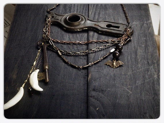 LUCIAN'S CASTLE. Steampunk Huge Escutcheon, Antique Skeleton Key, Coyote Fang, Jasper, Crystal and Bat Necklace OOAK Dracula Inspired