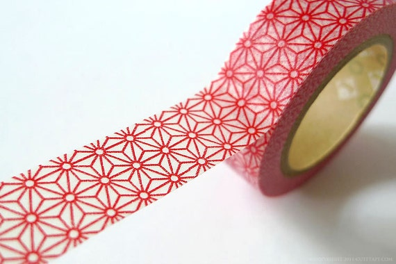 RED STAR Japanese Washi Tape Traditional Japanese Pattern Paper Tape 15mm MT
