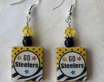 Pittsburgh Steelers Black and Gold Earrings