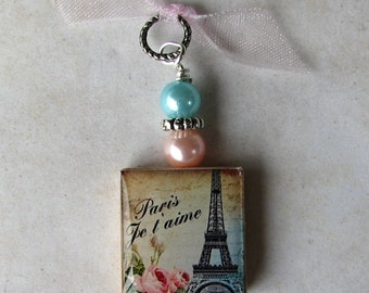 Paris France Eiffel Tower Swarovski Charm Pendant
