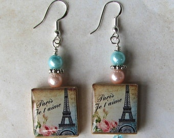 Paris France Eiffel Tower Earrings - Accented with Crystals and Pearls