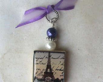 Vintage Paris France Eiffel Tower Postcard Charm Swarovski Crystals Pendant Necklace