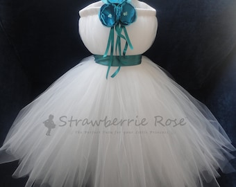 Flower Girl Dress, Little Girls Formal Dresses, Teal Flower Girl Dress