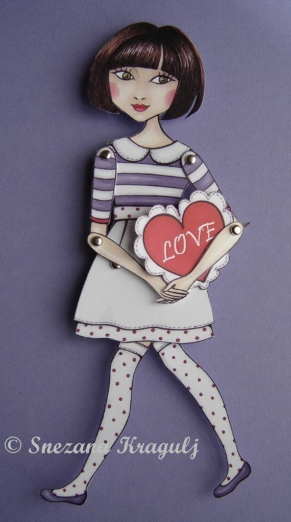 Valentine's paper doll- I give you my heart