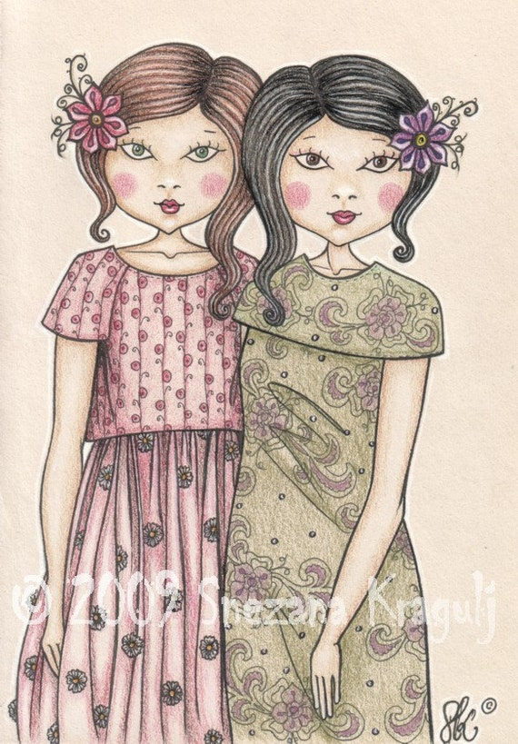 Sisters-Print of original colored pencil Fine Art illustration