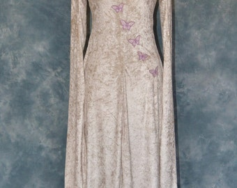 Melisande a Fantasy, Faery, Elvish, Medieval Wedding Dress Embroidered with Butterflies