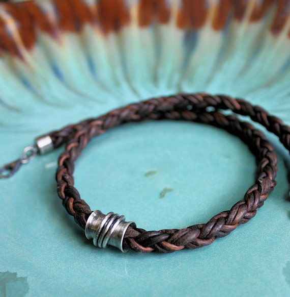 CUSTOM ORDER for Chris- Mens Leather Necklace Thick Braid Silver Tube Rustic Style